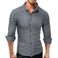 Long Sleeve Slim Men Strong Character Shirt [10684405763]