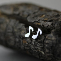 Sterling Silver Earrings Tiny Music Note Earrings I Antique Classic Simple Post Stud Earrings Gift Idea
