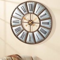 "Oversized Country Farmhouse Wall Clock Metal 30"" Diameter Rustic Trim Nail Heads"