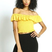 Yellow Smocked Off Shoulder Ruffle Top