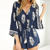 Boho Women Sexy V Neck Long Sleeve Jumpsuit Playsuit Romper Summer Causal Loose