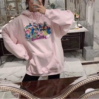 """Vetements"" Casual Fashion Letter Unicorn Pattern Embroidery Long Sleeve Hooded Sweater Women Hoodie Tops"