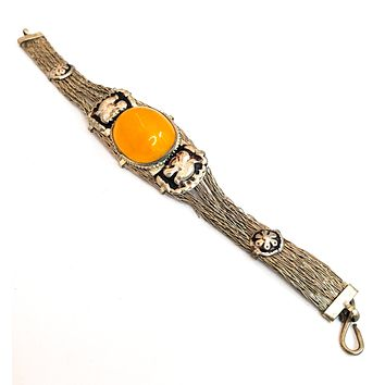 Chinese export spun silver amber and lucky elephant vintage cuff bracelet 800 silver