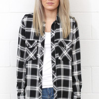 You're Plaid Perfect Button Down {Black+White}