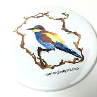 European Bee Eater Watercolor and Ink Artist Print Pinback Button, Colorful Song Bird Themed Artist Painting Collectable Pinback Art Button