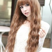 X&Y ANGEL New Fashion Fluffy Healthy Long Curly Kanekalon Full Wig As Real Hair Brown AQ161