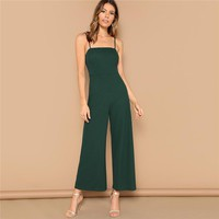 Green Solid Wide Leg Cami Jumpsuit Women Mid Waist Full Length Spaghetti Strap Skinny High Street Sexy Jumpsuits