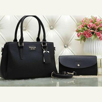 Perfect Prada Women Leather Tote Handbag Shoulder Bag Crossbody Set Two Piece