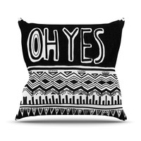 """Vasare Nar """"Oh Yes"""" Black White Outdoor Throw Pillow"""