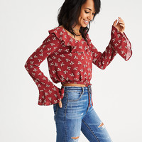 AEO Ruffle-Collar Bell Sleeve Crop Top, Red