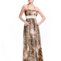 Ever Pretty Halter Ruched Waist Water Leopard Print Summer Maxi Party Dress 09379