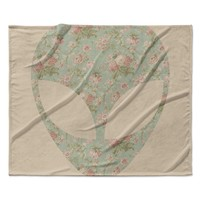 "Alias ""Floral Alien"" Pink Teal Fleece Throw Blanket"