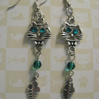 NEW -Green Eyed Kitty - Hand Crafted Dangle Earrings - Perfect For Any Cat Owner or Lover