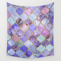 Royal Purple, Mauve & Indigo Decorative Moroccan Tile Pattern Wall Tapestry by Micklyn