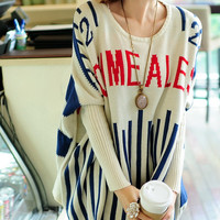 """Letters  """"teach me a lesson"""" Stripe Round Collar Sweater dress Knitwear  large knitted sweater long women sweater plus size sweater  F3"""