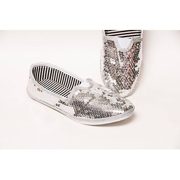 Silver Sequin Slip On Shoes