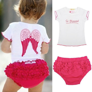 Baby Toddlers Summer Outfit Girl Angel Wings Top+ Ruffle Pants 6-24 Months SV001356|26601 Children's Clothing = 1745450244