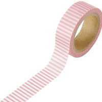 DARICE 1217-95 Washi Tape Roll, 5/8 by 315-Inch, Pink/White
