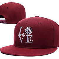 RHXING LOVE Volleyball Symbol Logo Adjustable Snapback Embroidery Hats Caps - Red