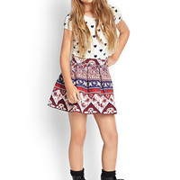 FOREVER 21 GIRLS Paisley Floral Pleated Skirt (Kids) Navy/Red