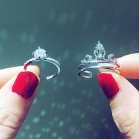 Fashion crown 2 in 1 ring lovers high-grade temperament open birthday gift ring