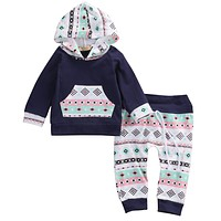Autumn style infant clothes baby Geometric clothing sets Baby Boy Girl Outfit Clothes Hoodie T-shirt Tops+Pants Set