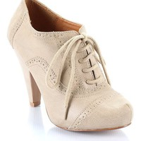 Qupid Nadine-39 Lace Up Oxford Bootie