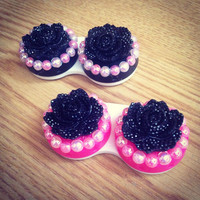 Hot Pink Bling Contact Case