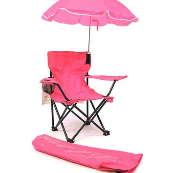 Kids,Toddlers Baby Umbrella Camp Beach Chair with Umbrella Shade, Pink