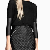 Black Leather-sleeve Sweater