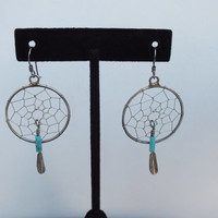 Spiderweb Design Sterling Silver Earrings with Feather and Turquoise Beads, Beautiful Southwestern Precious Metal Jewelry, Free Shipping