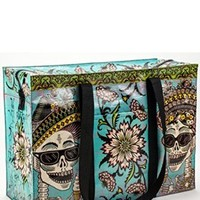 Blue Q Shoulder Tote with Zipper Top, in Day of the Dead
