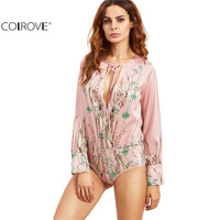 COLROVE Fall Pink Botanical Printed Plunge Tie Neck Wrap Shirt Sexy Ladies Deep V Neck Long Sleeve Bodysuit