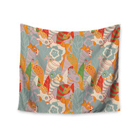 """Akwaflorell """"Fishes Here, Fishes There 2"""" Multicolor Wall Tapestry"""