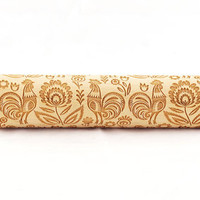 Folk pattern with rooster - embossed, engraved rolling pin for cookies