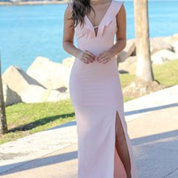 Blush V-Neck Maxi Dress with Ruffle Detail