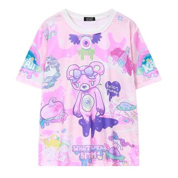 Pastel Goth Cute Pink Bear Monsters Whatever Bitch Graffiti Funny Casual T-shirt