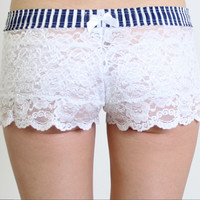 2016 new sexy double lace shorts navy wind stripe