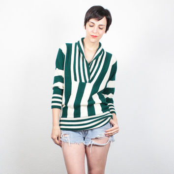 Vintage Sweater 1980s Jumper Hunter Green Ivory Cream Striped Pullover Cowl Neck 80s Sweater Hipster Cozy Knit Tunic Top S Small M Medium