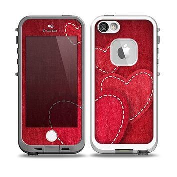 The Pocket with Red Scratched Hearts Skin for the iPhone 5-5s fre LifeProof Case
