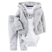 Carter's ''Mommy's Little Genius'' Hooded Cardigan Set - Baby Boy, Size: