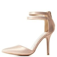 Rose Gold Textured Metallic Strappy D'Orsay Pumps by Charlotte Russe