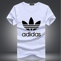 Adidas Summer Fashionable Women Men Casual Print Short Sleeve Round Collar Couple T-Shirt Top White
