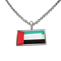 Thin Bordered United Arab Emirates UAE Flag Pendant Necklace