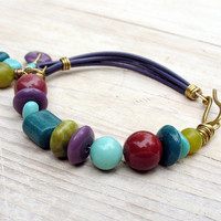 Beaded Leather Bracelet, Purple Chartreuse Teal Turquoise Plum Burgundy, Geometric Beads and Charms
