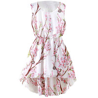 Floral High-Low Sleeveless A-Line Blouson Pleated Mini Dress