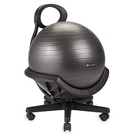 Gaiam Ultimate Balance Ball Chair (Standard or Swivel Base Option) - Premium Exercise Stability Yoga Ball Ergonomic Chair for Home and Office Desk - 52cm Anti-Burst Ball, Air Pump, Exercise Guide Black (Swivel Base)