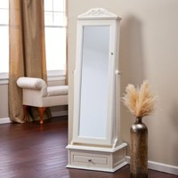 Belham Living Removable Decorative Top Locking Mirrored Cheval Jewelry Armoire - Off