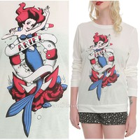 Licensed cool Disney Little Mermaid ARIEL Tattoo Pullover Top Sweatshirt  Crewneck Long Sleeve