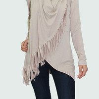 Cowl Neck Button Tunic With Fringe Detail - Taupe